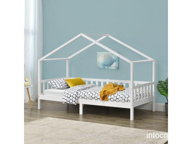 [en.casa]® Pat copii Diana Weib, 206 x 97 x 148 cm, lemn de brad, alb mat lacuit