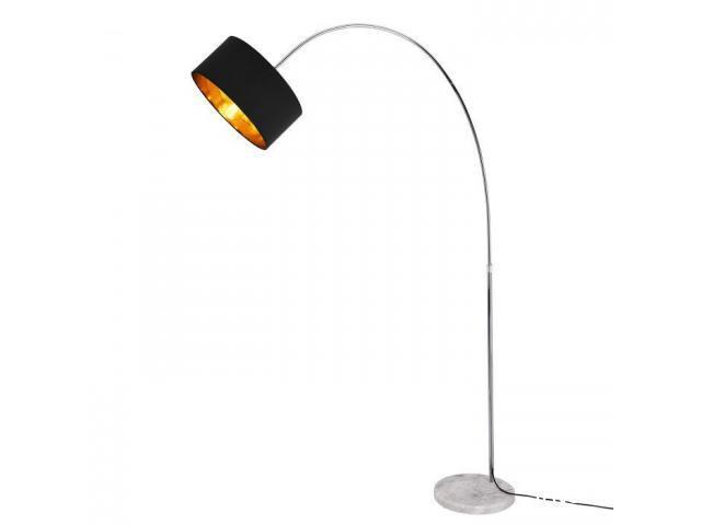 [lux.pro]® Lampadar HT168072, 230 cm, 1 x E27, maxim 60W, tesatura/metal, galben aramiu/gri inchis