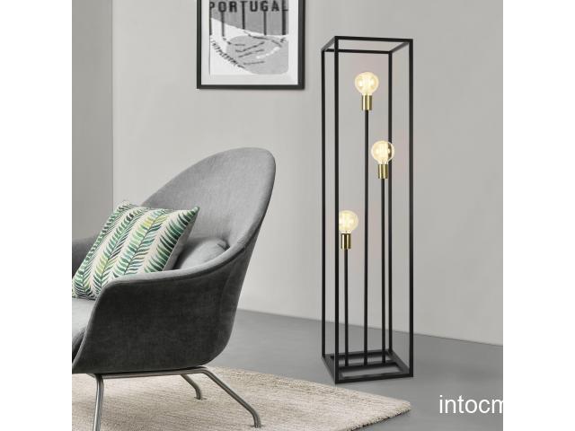 [lux.pro]® Lampa de podea Groningen, 140 x 30 x 30 cm, 3 x E27 max. 60W, metal, negru/aramiu