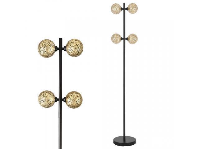[lux.pro] Lampa de podea Felin, 138 cm, 4 x G9, max. 28W, metal/aluminiu, negru/auriu