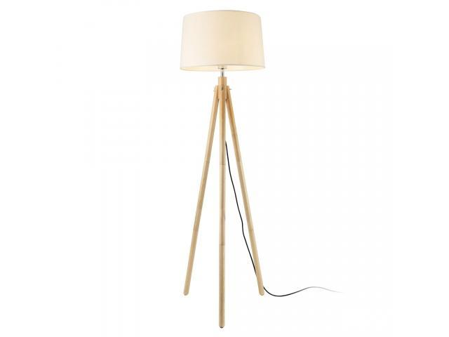 [lux.pro]® Lampadar Tomar, 1 x E27, max. 60W, 153 cm, lemn/metal/tesatura, efect lemn/alb