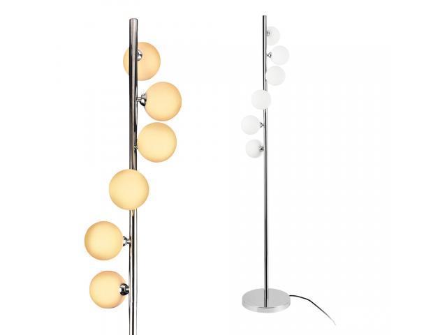 [lux.pro] Lampa de podea Charleroi, 148 cm, 6 x G9, max. 28W, metal/sticla, crom/alb