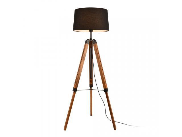 [lux.pro]® Lampadar Lagos, 1 x E27, max. 60W, 144 cm, metal/lemn/tesatura, efect lemn/negru