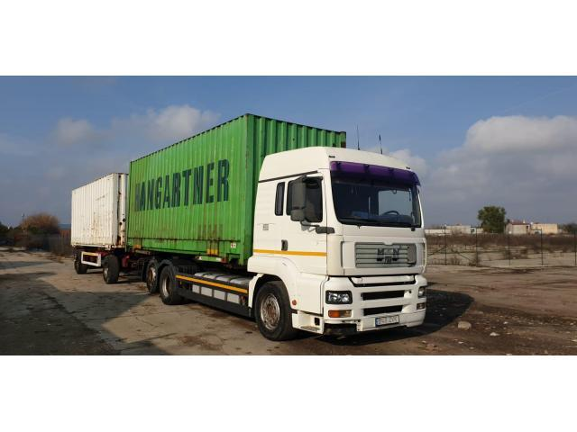 Ansamblu tandem transport containere MAN 26.413 TGA + remroca. 40 tone.