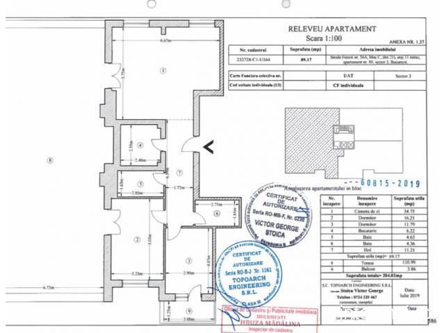 Apartament 3 camere decomandat cu terasa,Metrou 1 Decembrie 1918 si statii Stb